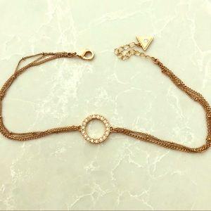 GUESS Rosegold Circle Choker Necklace